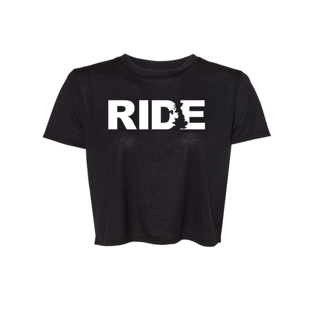 Ride United Kingdom Classic Womens Flowy Cropped Tee Black (White Logo)