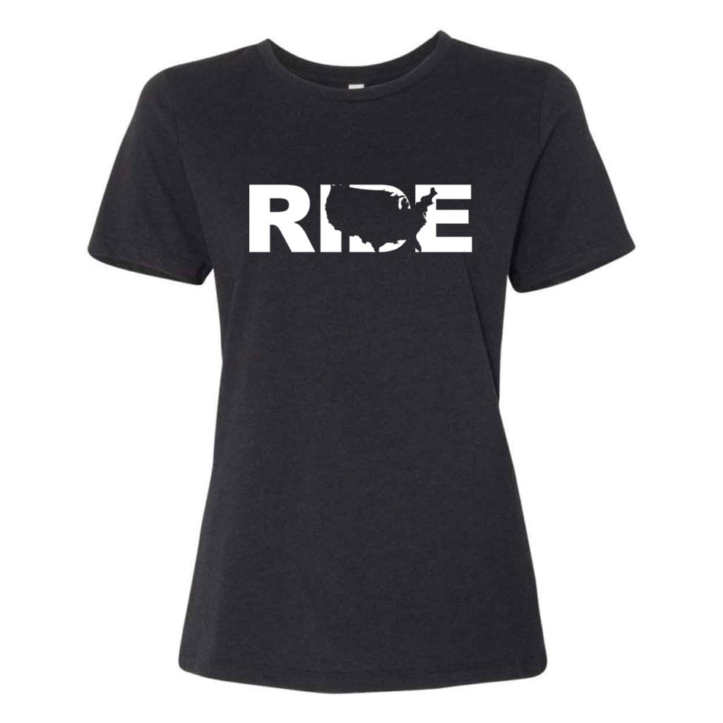 Ride United States Classic Women's Relaxed Jersey T-Shirt Black Heather (White Logo)
