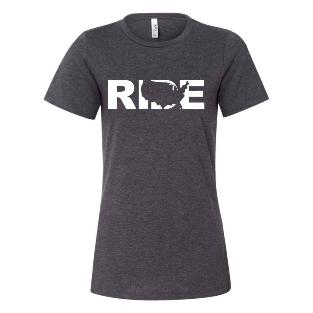 Ride United States Classic Women's Relaxed Jersey T-Shirt Dark Gray Heather (White Logo)