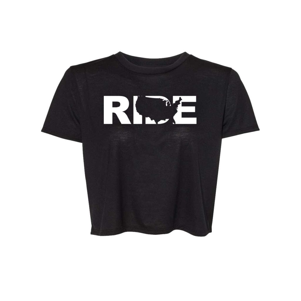 Ride United States Classic Womens Flowy Cropped Tee Black (White Logo)