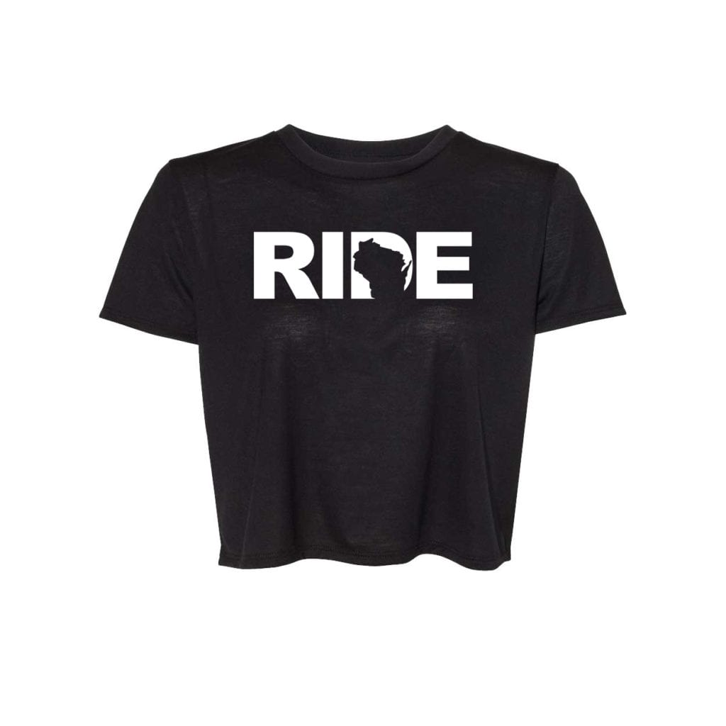 Ride Wisconsin Classic Womens Flowy Cropped Tee Black (White Logo)