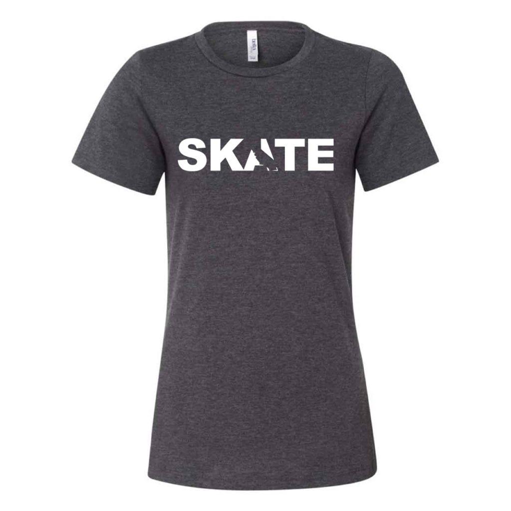 Skate California Classic Women's Relaxed Jersey T-Shirt Dark Gray Heather (White Logo)