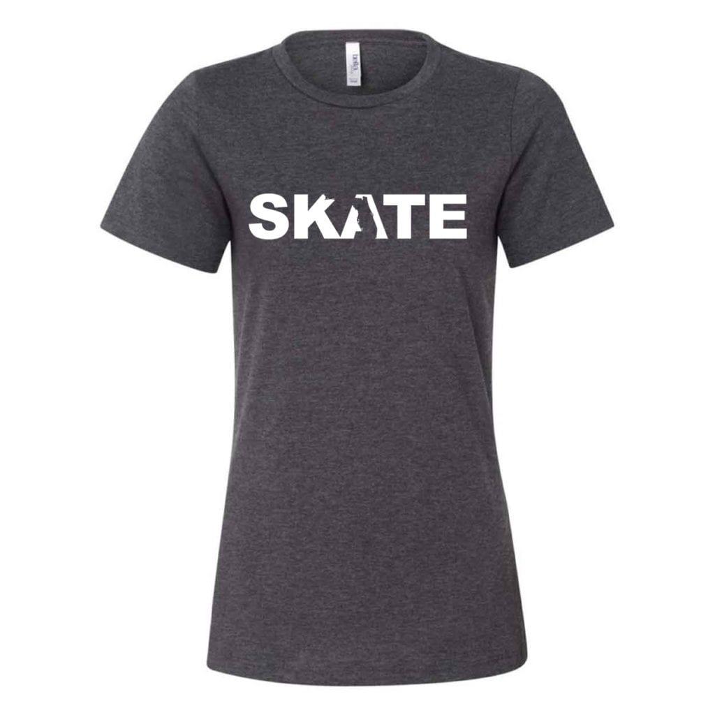 Skate Florida Classic Women's Relaxed Jersey T-Shirt Dark Gray Heather (White Logo)