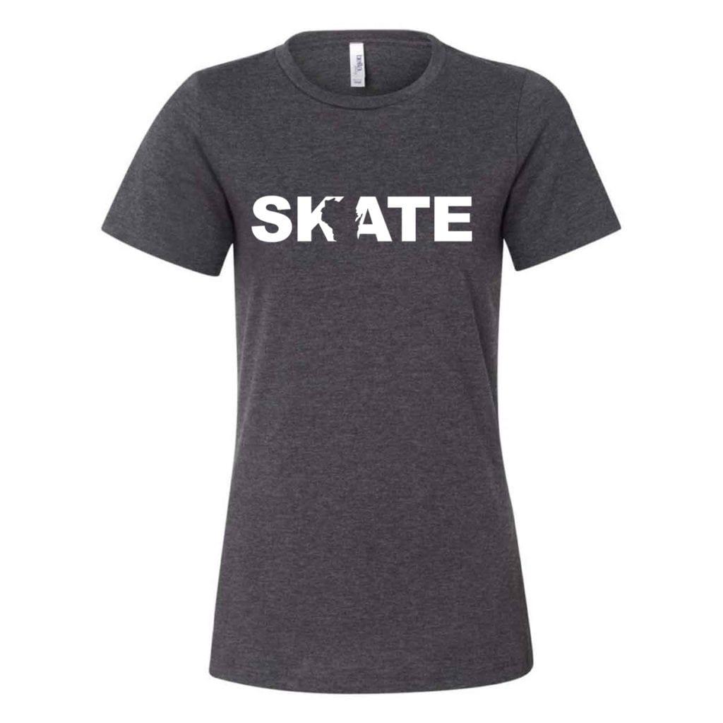 Skate Wisconsin Classic Women's Relaxed Jersey T-Shirt Dark Gray Heather (White Logo)
