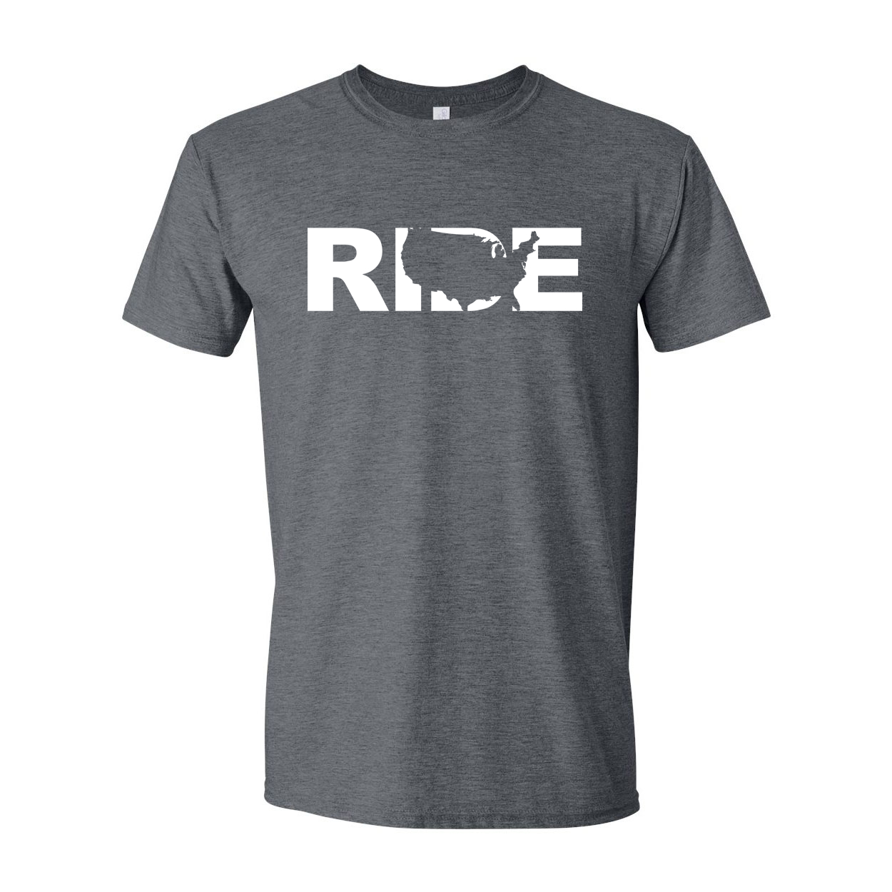 Ride United States Classic T-Shirt Dark Heather Gray (White Logo)