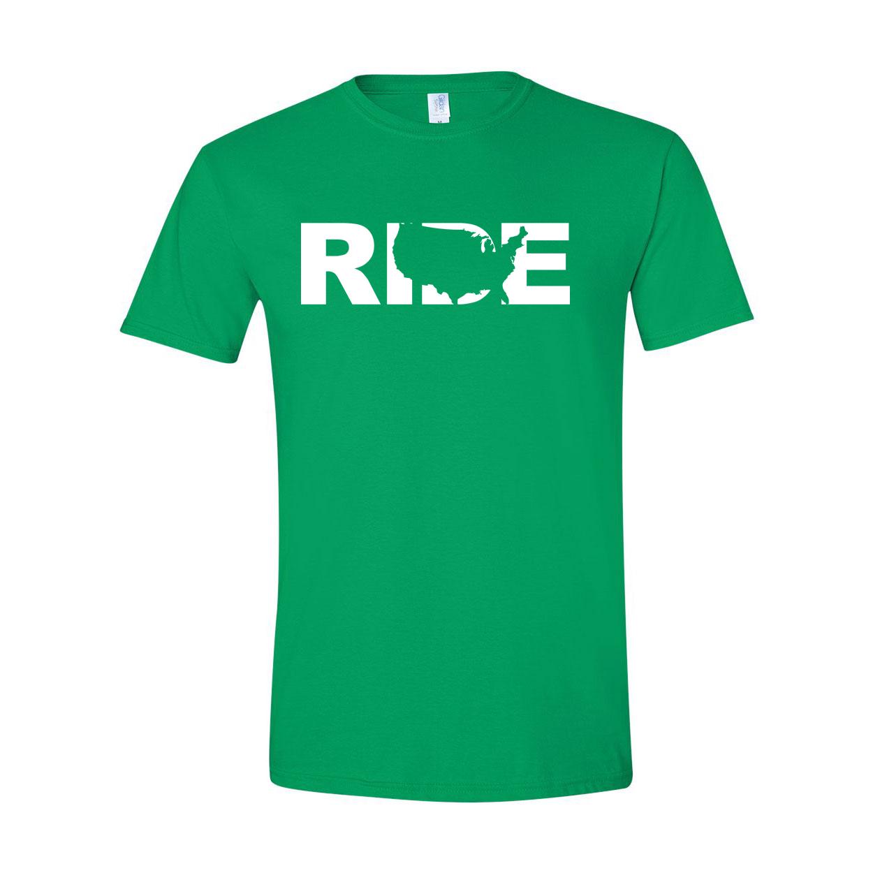 Ride United States Classic T-Shirt Irish Green (White Logo)