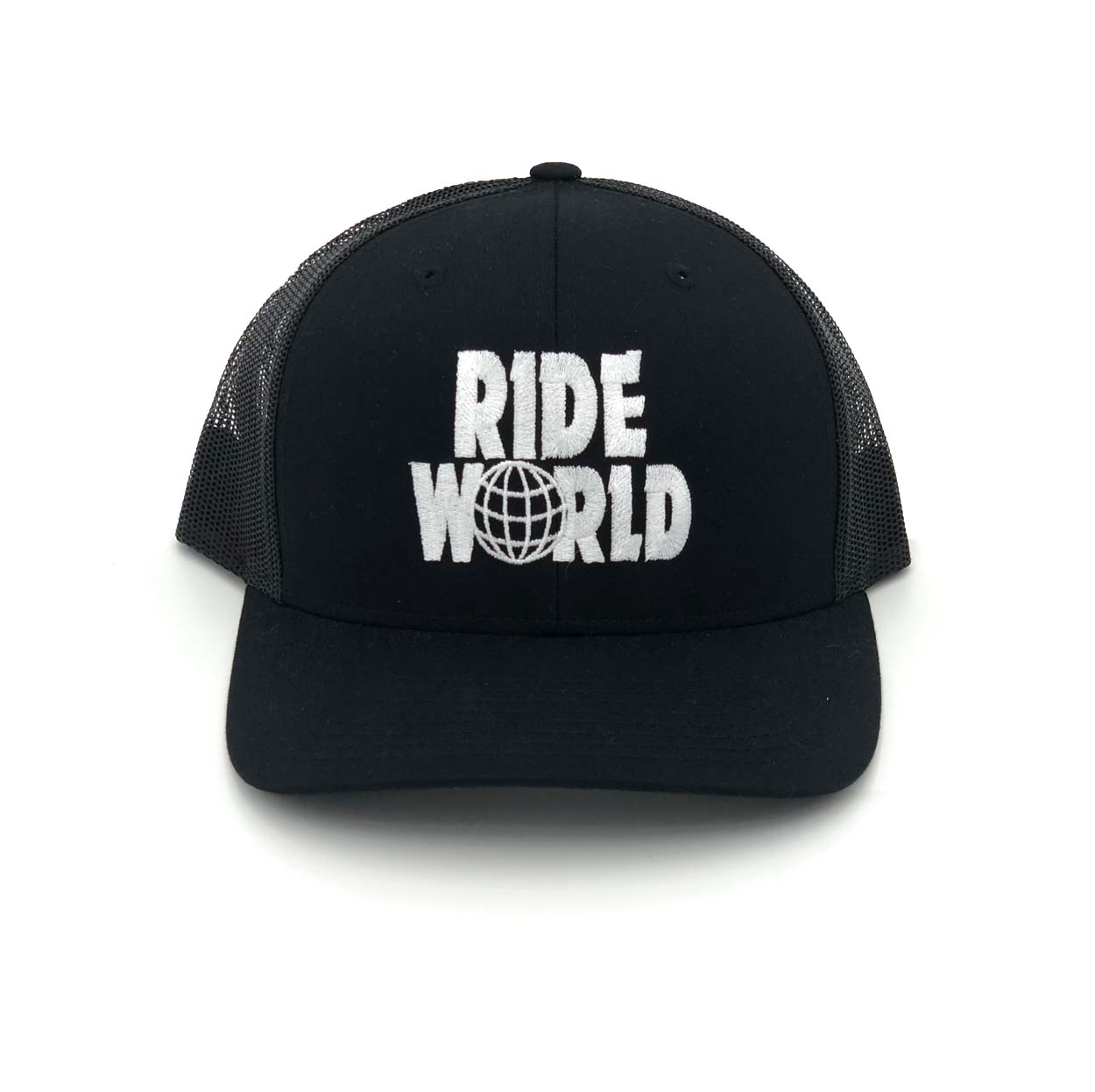 Ride World Logo Classic Embroidered Snapback Trucker Hat Black/White