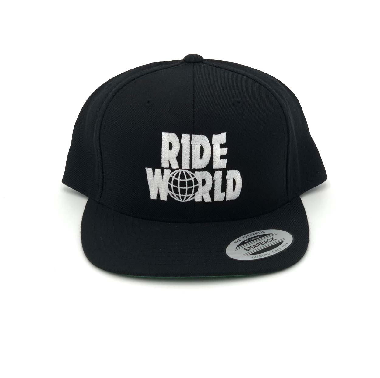 Ride World Logo Classic Embroidered Snapback Flat Brim Hat Black/White