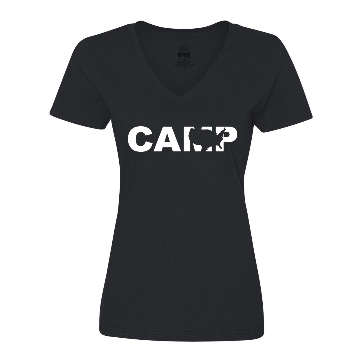 Camp United States Classic Womens V-Neck Shirt Black (White Logo)