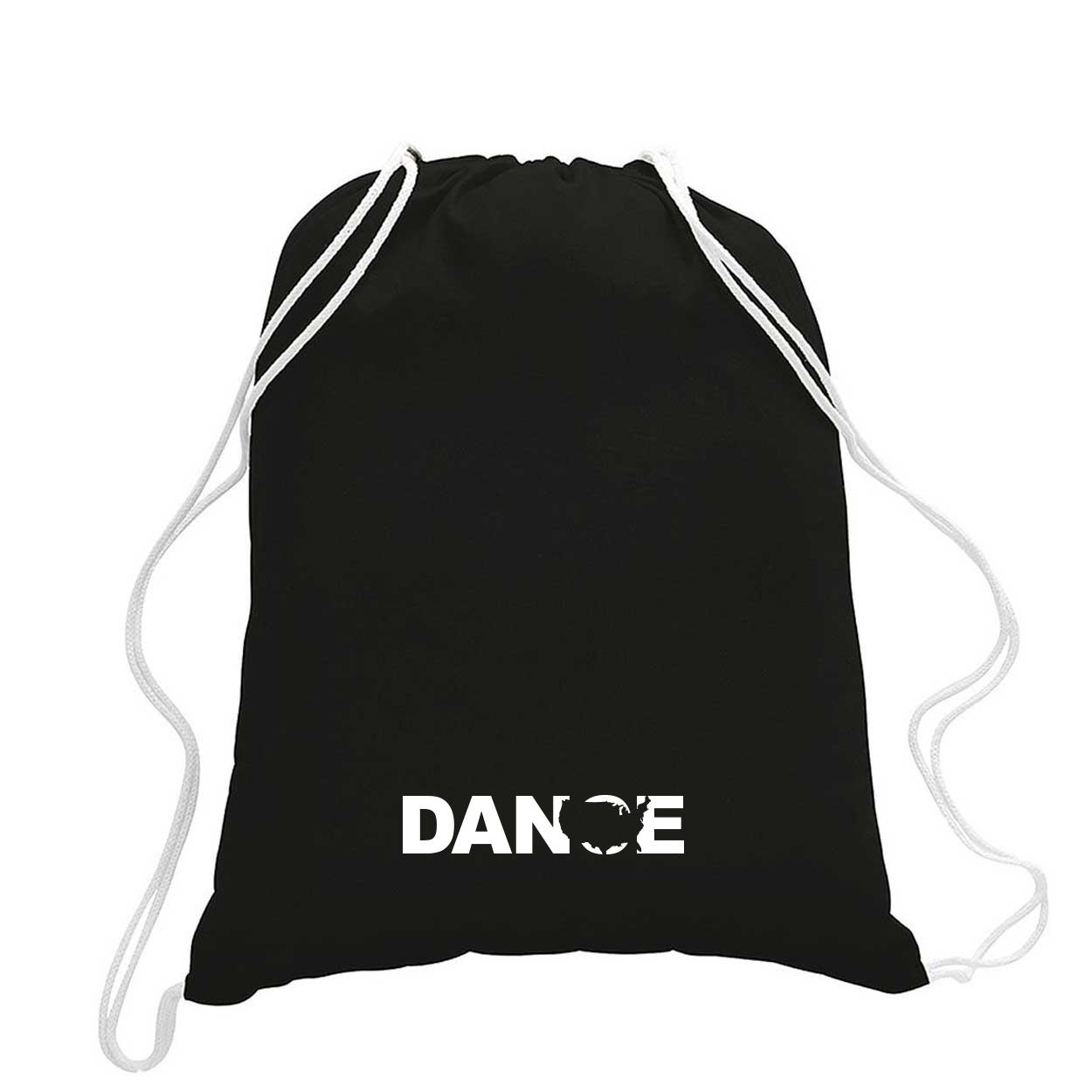Dance United States Classic Drawstring Sport Pack Bag/Cinch Sack Black (White Logo)