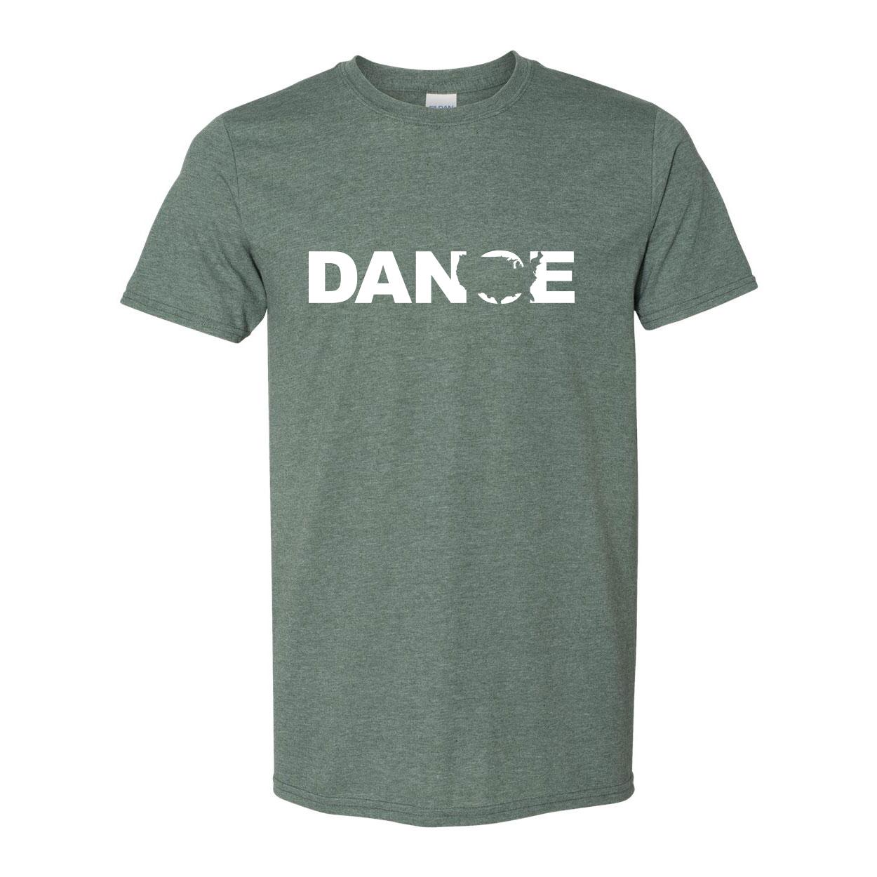 Dance United States Classic T-Shirt Heather Military Green (White Logo)