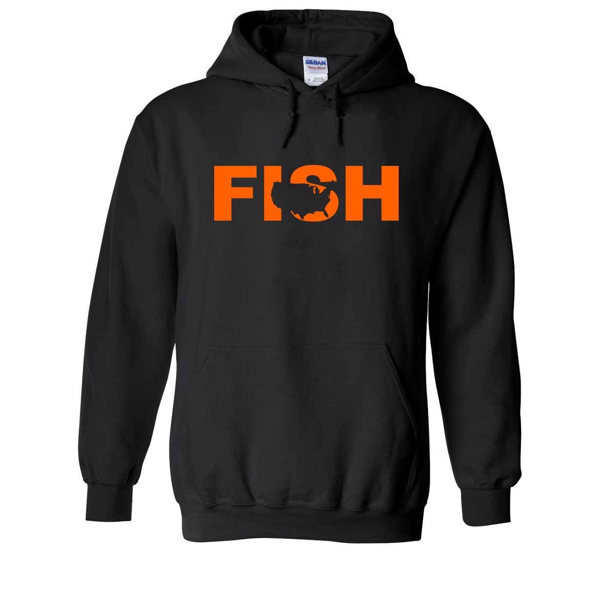 Fish United States Classic Sweatshirt Black (Orange Logo)