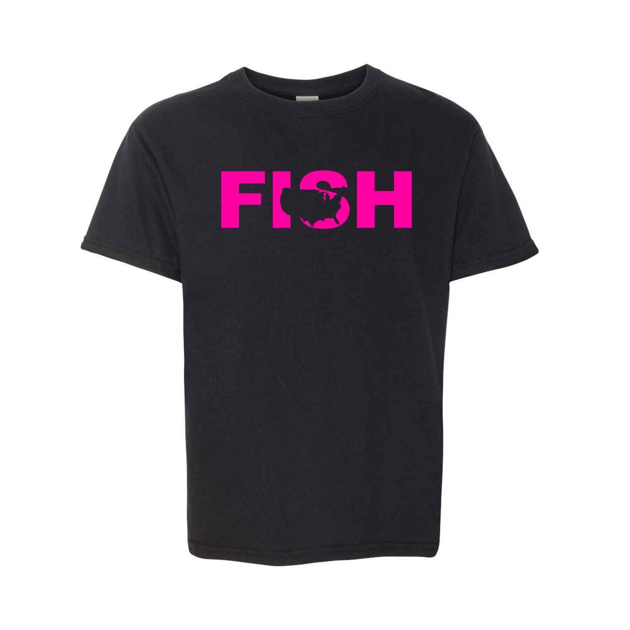 Fish United States Classic Youth T-Shirt Black (Pink Logo)