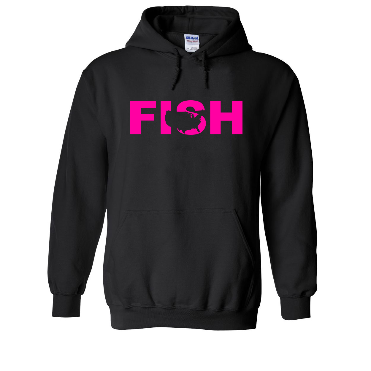Fish United States Classic Sweatshirt Black (Pink Logo)
