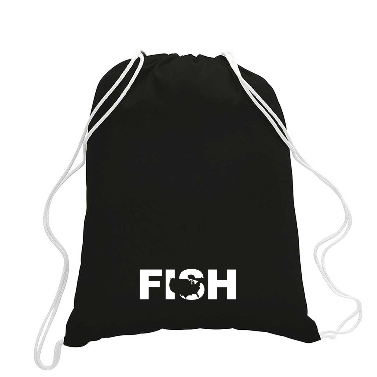 Fish United States Classic Drawstring Sport Pack Bag/Cinch Sack Black (White Logo)
