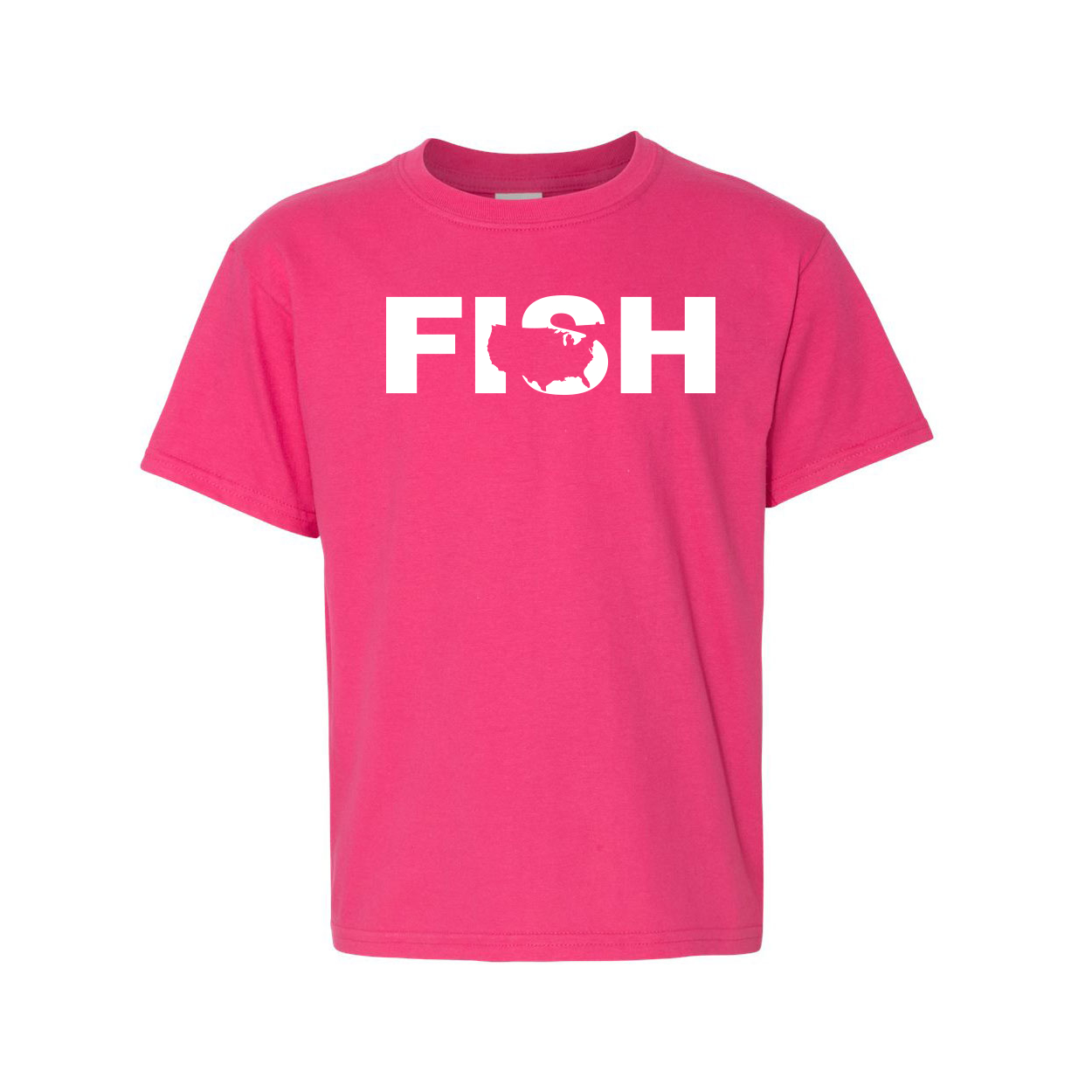Fish United States Classic Youth T-Shirt Pink (White Logo)