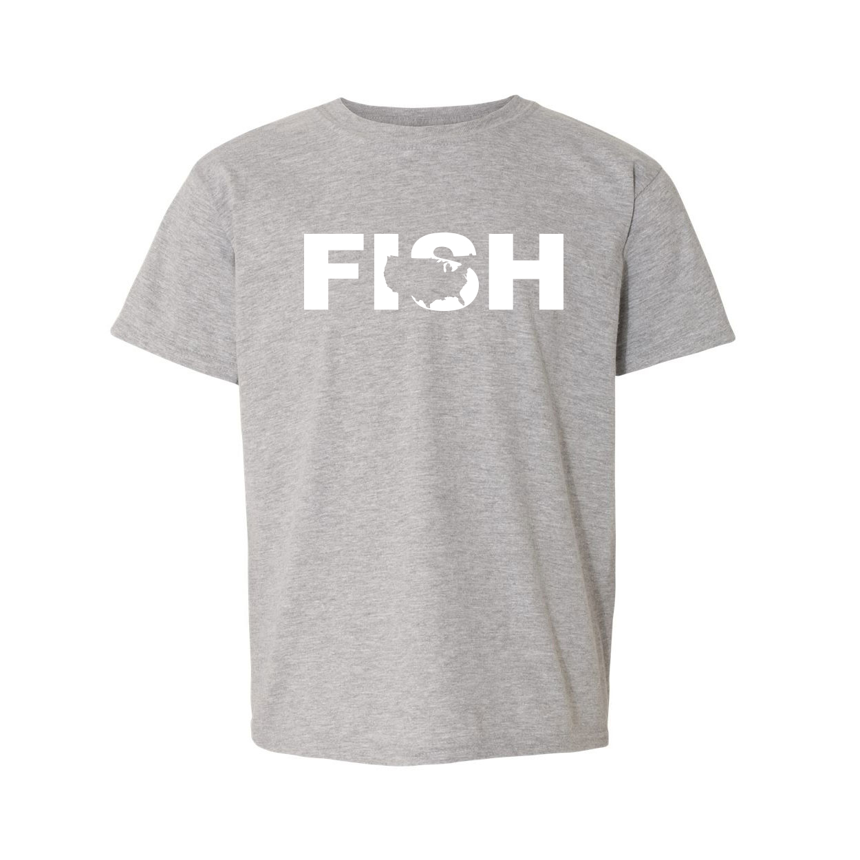 Fish United States Classic Youth T-Shirt Gray (White Logo)