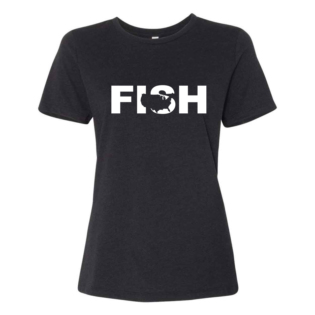 Fish United States Classic Women's Relaxed Jersey T-Shirt Black Heather (White Logo)