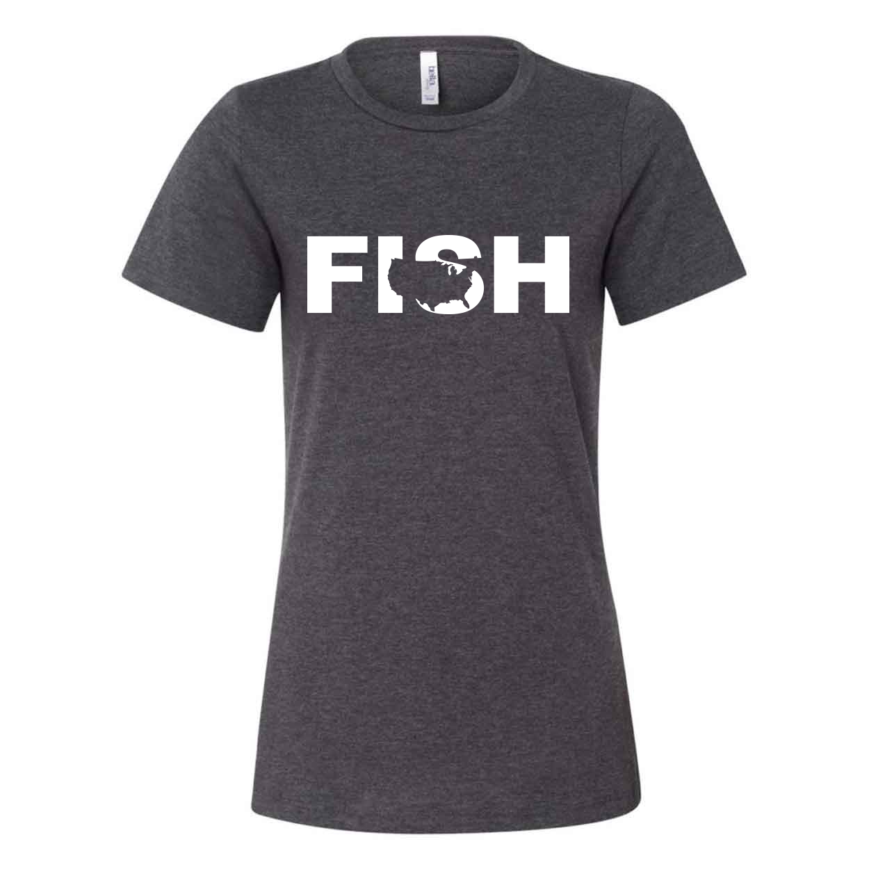 Fish United States Classic Women's Relaxed Jersey T-Shirt Dark Gray Heather (White Logo)