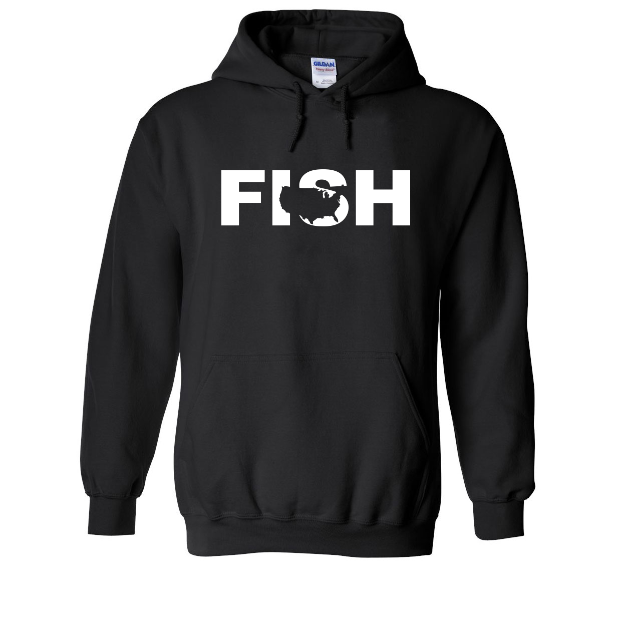Fish United States Classic Sweatshirt Black (White Logo)