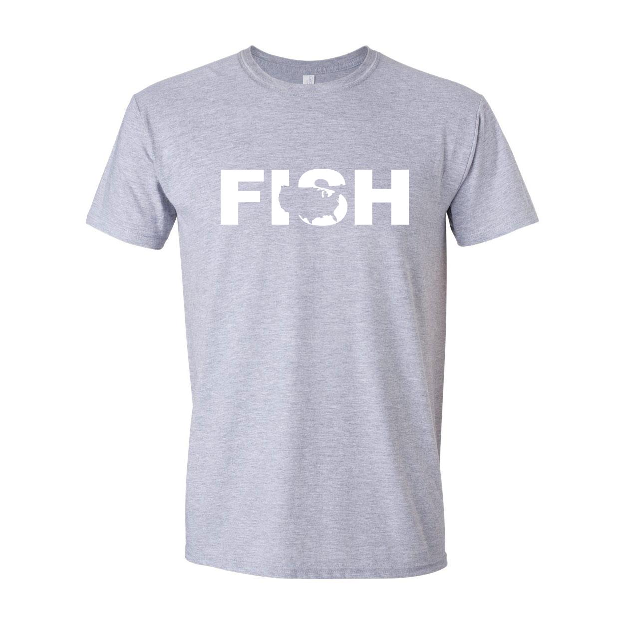 Fish United States Classic T-Shirt Sport Gray (White Logo)