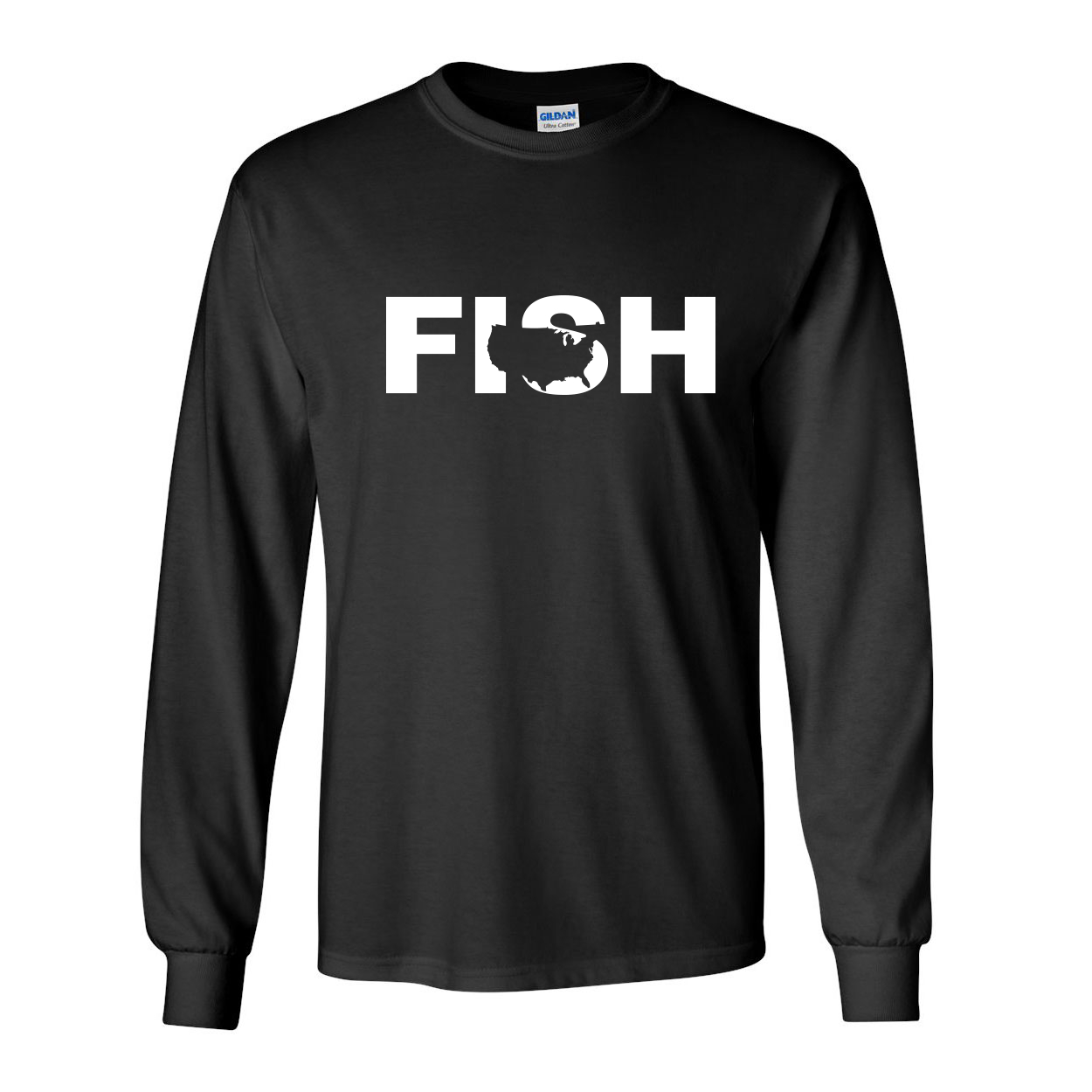 Fish United States Classic Long Sleeve T-Shirt Black (White Logo)