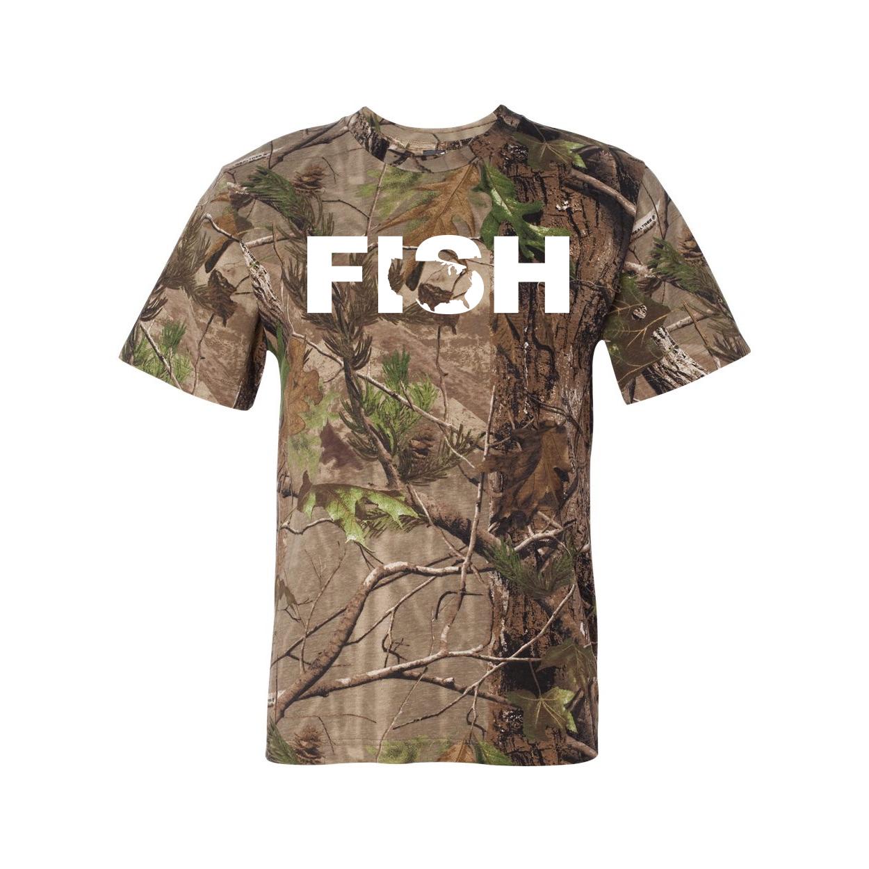Fish United States Classic Premium T-Shirt RealTree Camo (White Logo)
