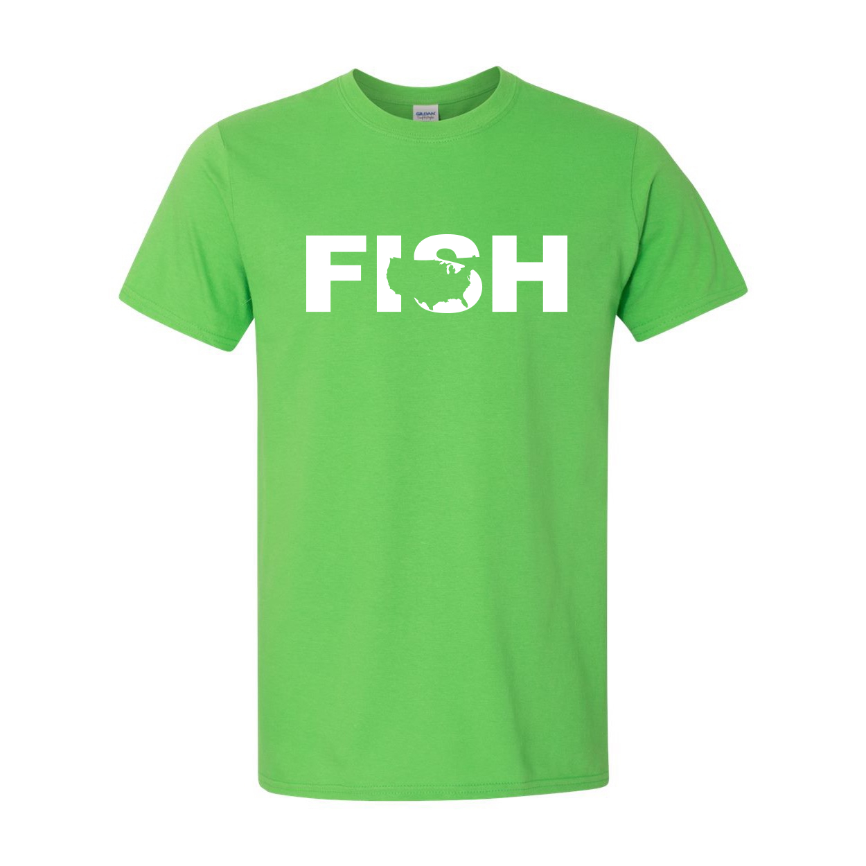 Fish United States Classic T-Shirt Electric Green (White Logo)