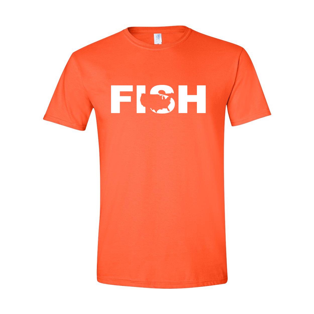 Fish United States Classic T-Shirt Orange (White Logo)