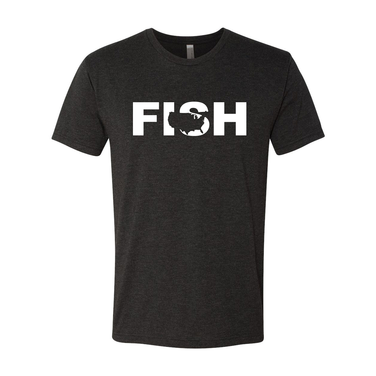 Fish United States Classic Premium Tri-Blend T-Shirt Vintage Black (White Logo)