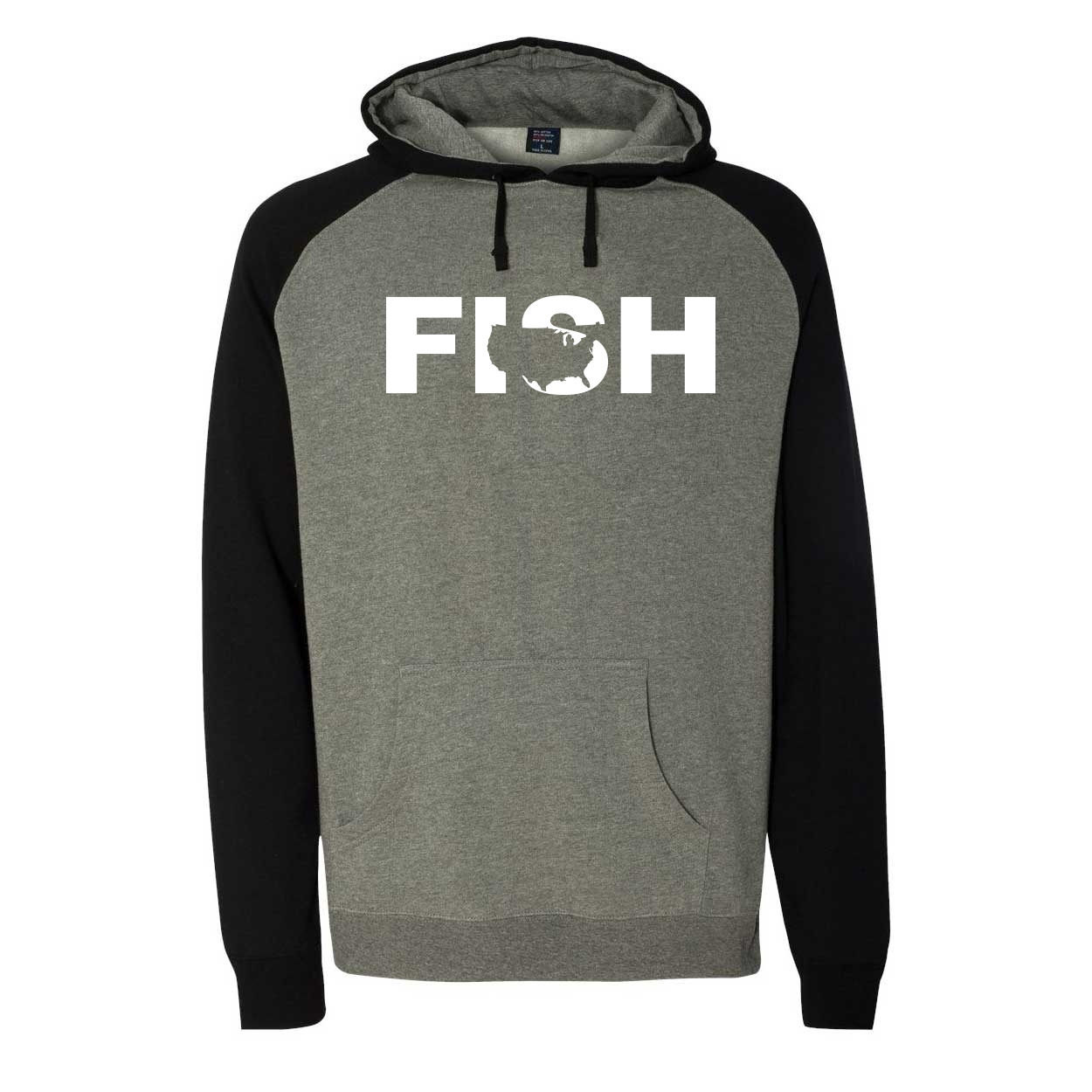Fish United States Classic Raglan Hooded Pullover Sweatshirt Gunmetal/Heather Black (White Logo)