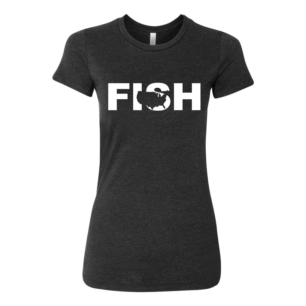 Fish United States Classic Women's Fitted Tri-Blend T-Shirt Dark Heather Gray (White Logo)