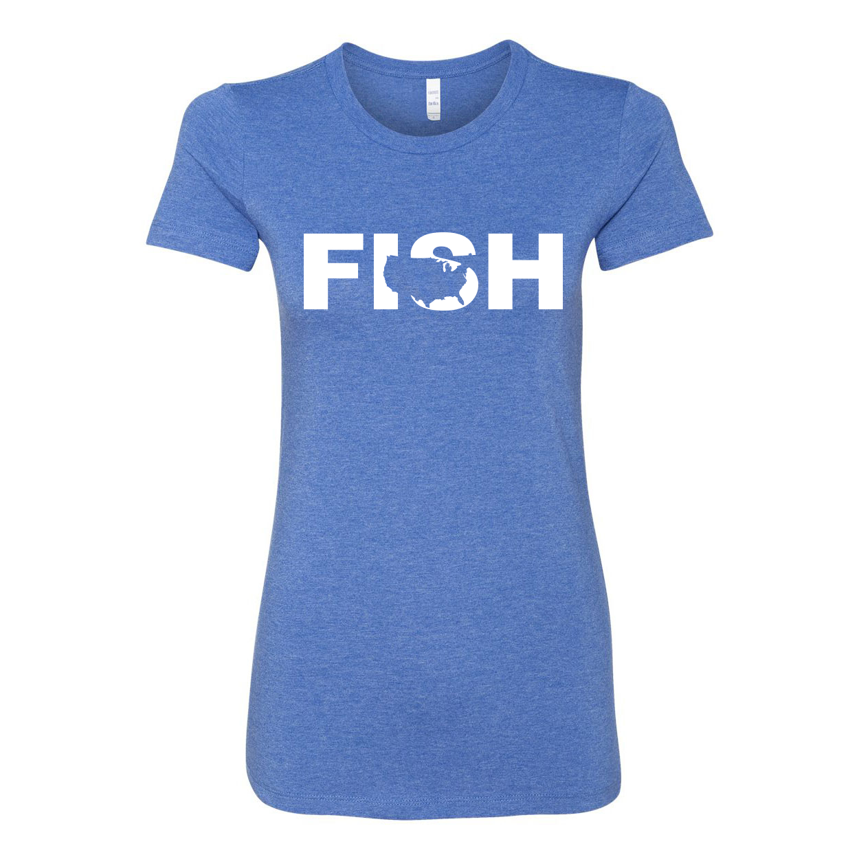 Fish United States Classic Women's Fitted Tri-Blend T-Shirt True Royal Heather Blue (White Logo)