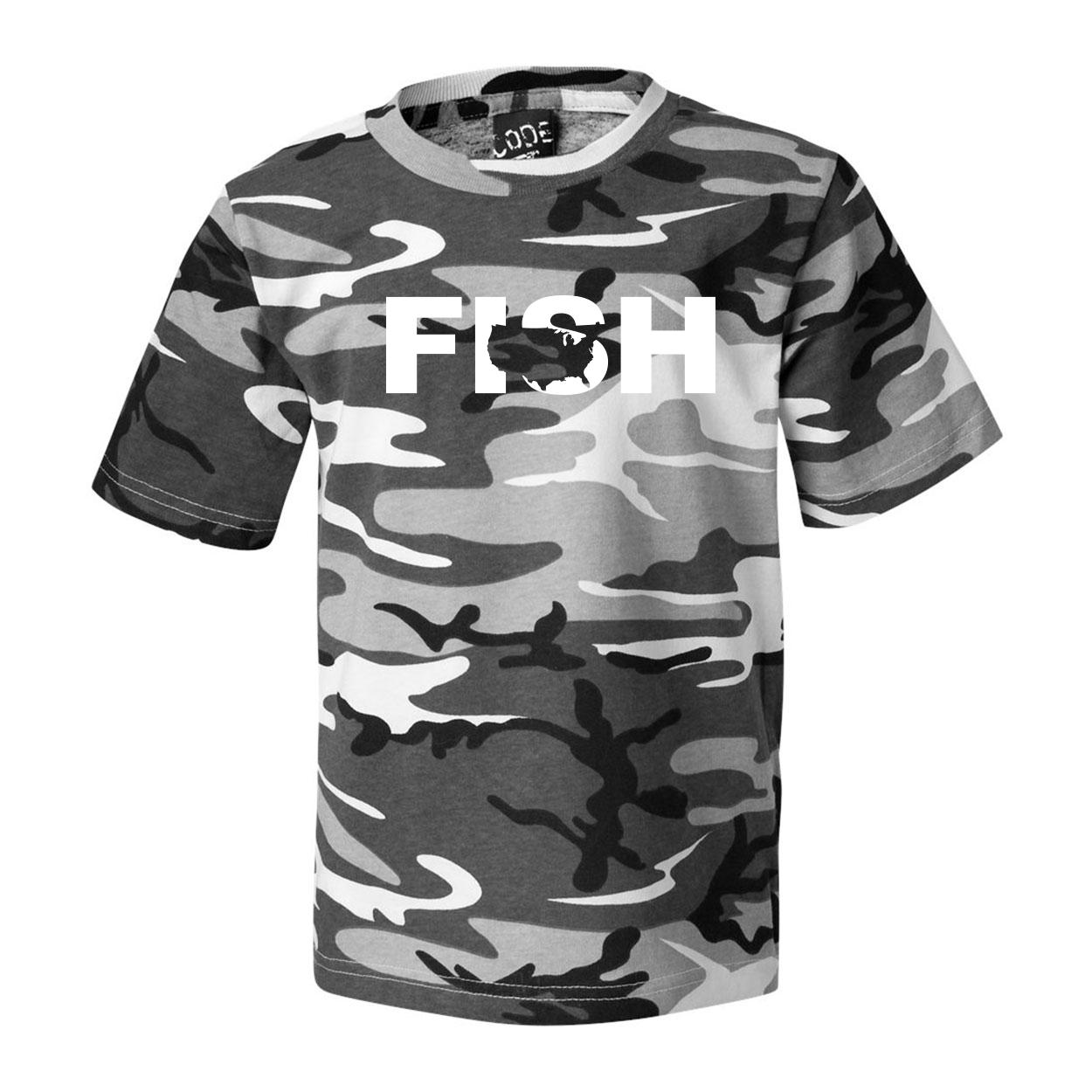 Fish United States Classic Premium T-Shirt Urban Camo (White Logo)
