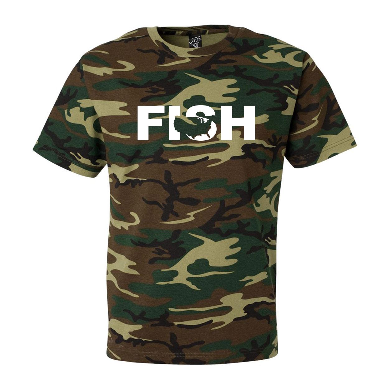 Fish United States Classic Premium T-Shirt Camo (White Logo)