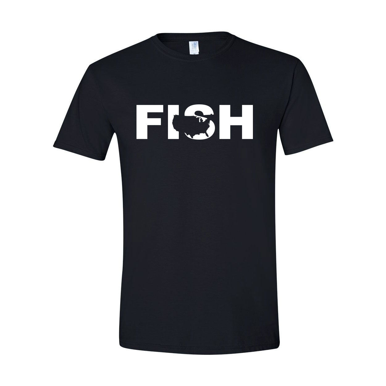 Fish United States Classic T-Shirt Black (White Logo)