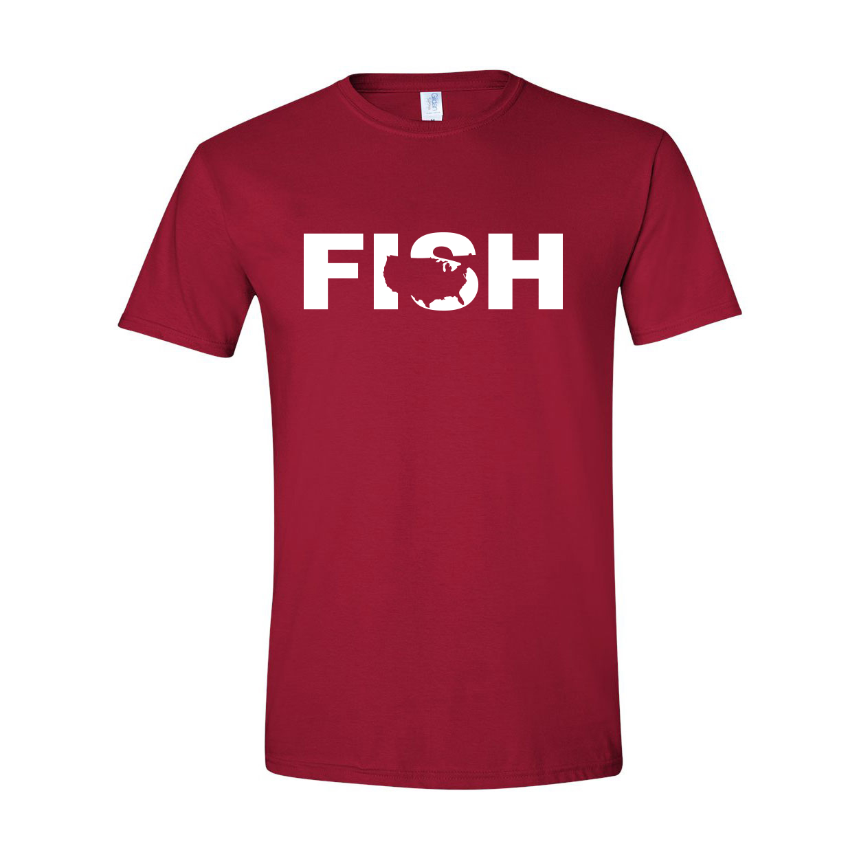 Fish United States Classic T-Shirt Cardinal Red (White Logo)