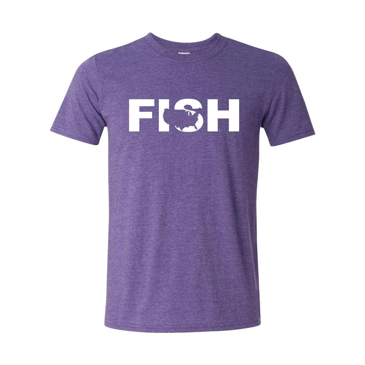 Fish United States Classic T-Shirt Heather Purple (White Logo)