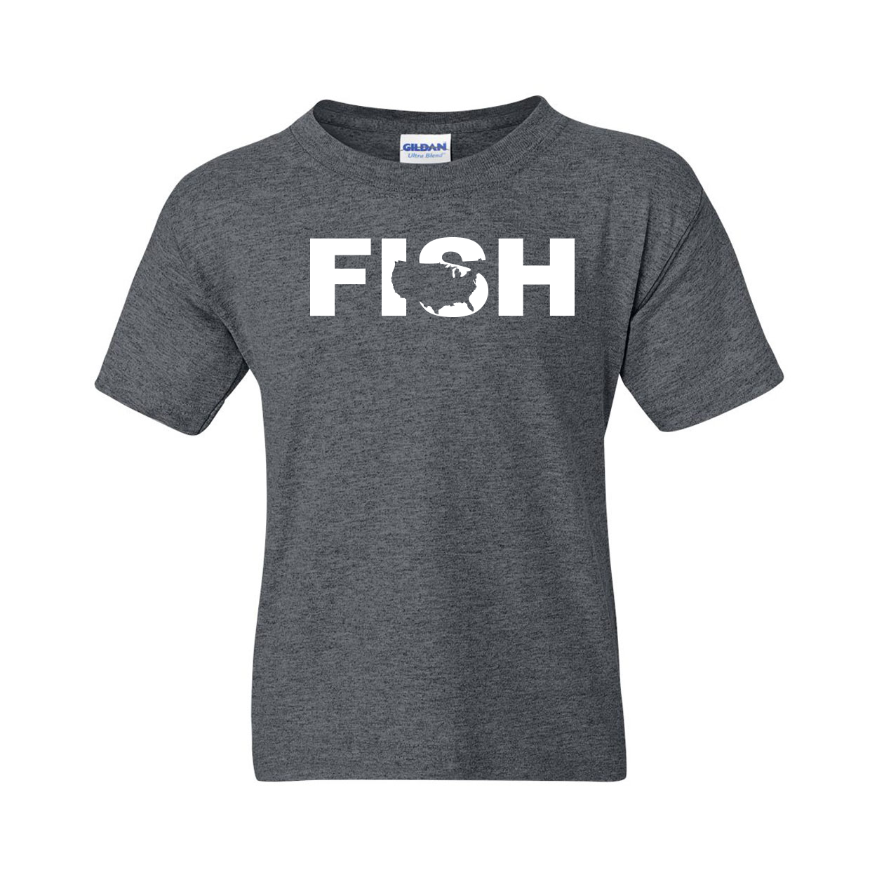 Fish United States Classic Youth T-Shirt Dark Heather Gray (White Logo)