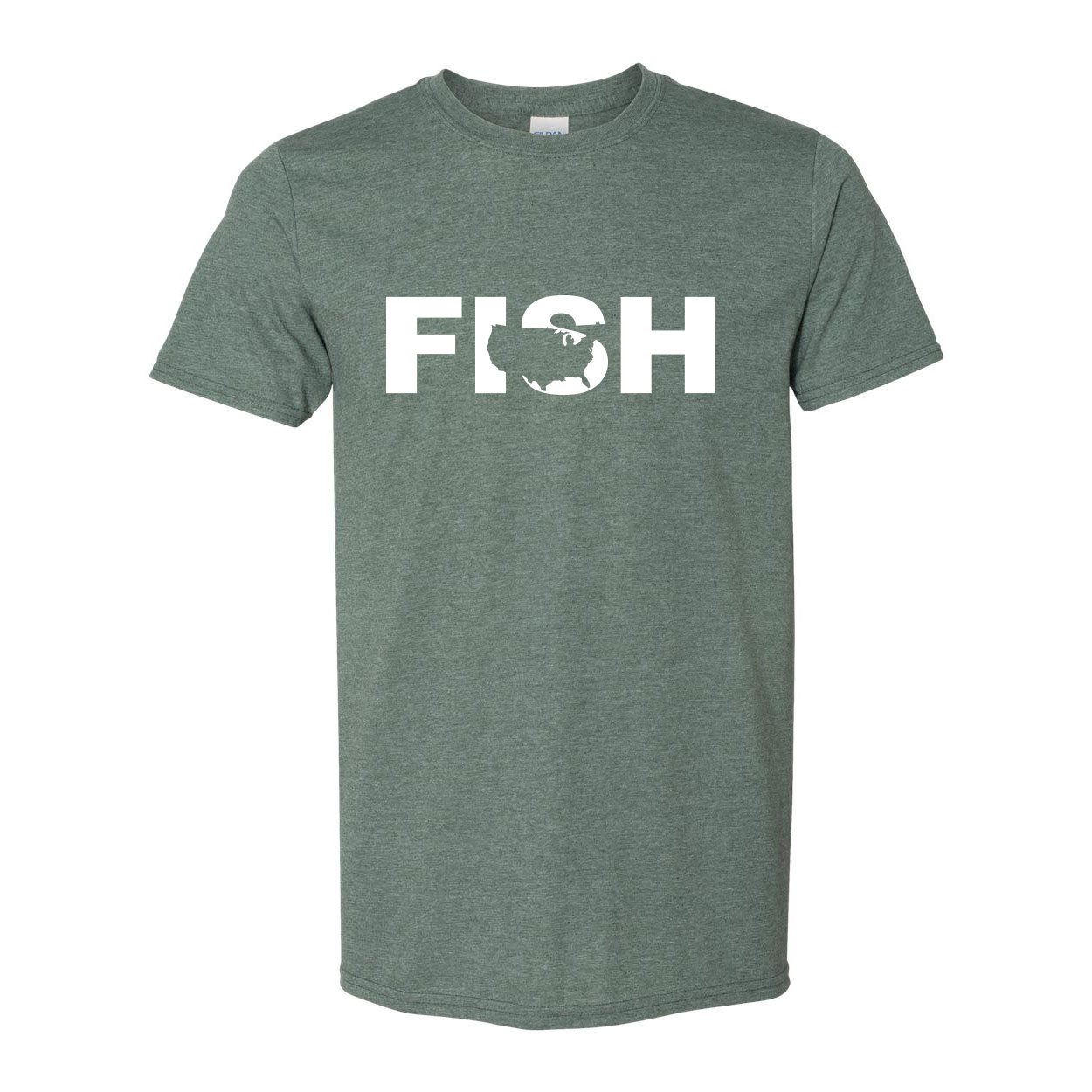 Fish United States Classic T-Shirt Heather Military Green (White Logo)