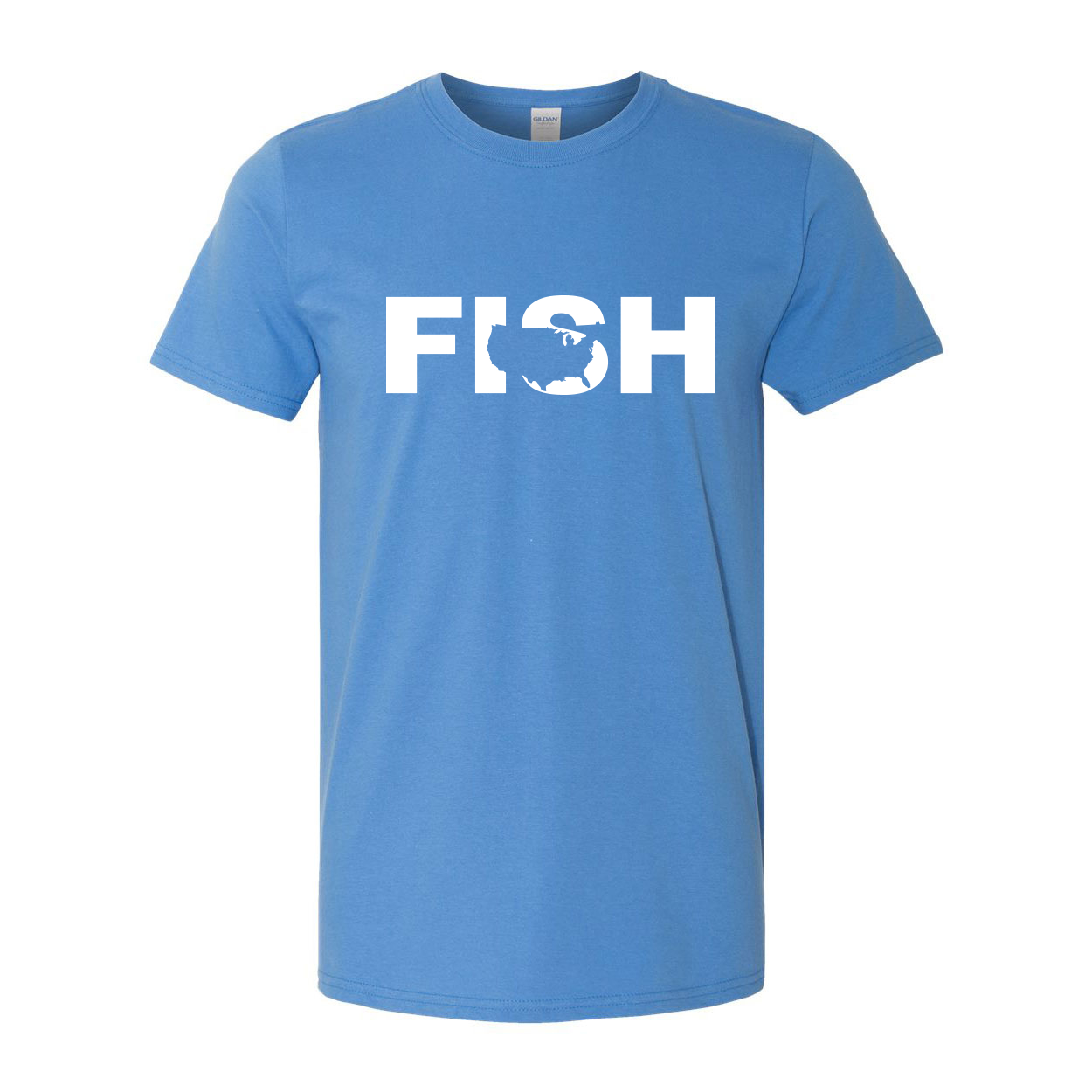 Fish United States Classic T-Shirt Iris Blue (White Logo)