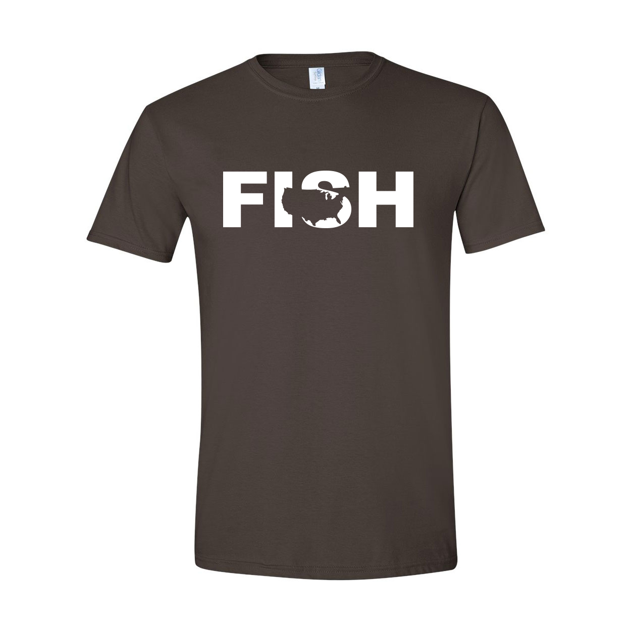 Fish United States Classic T-Shirt Dark Chocolate Brown (White Logo)