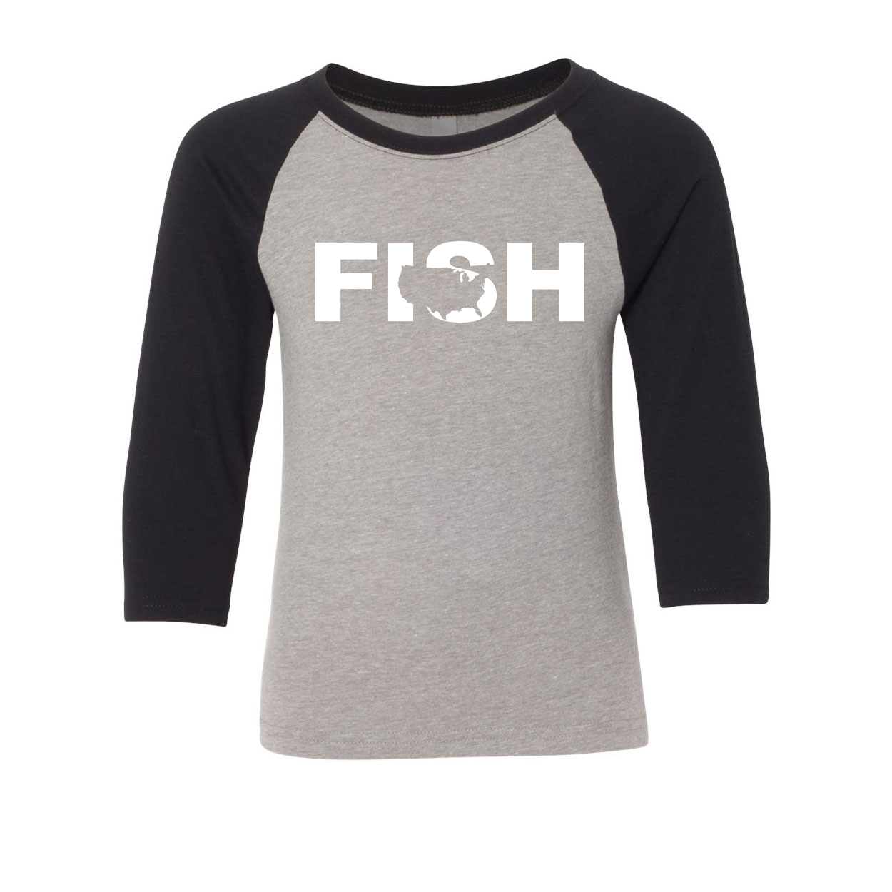 Fish United States Classic Youth Premium Raglan Shirt Gray/Black (White Logo)