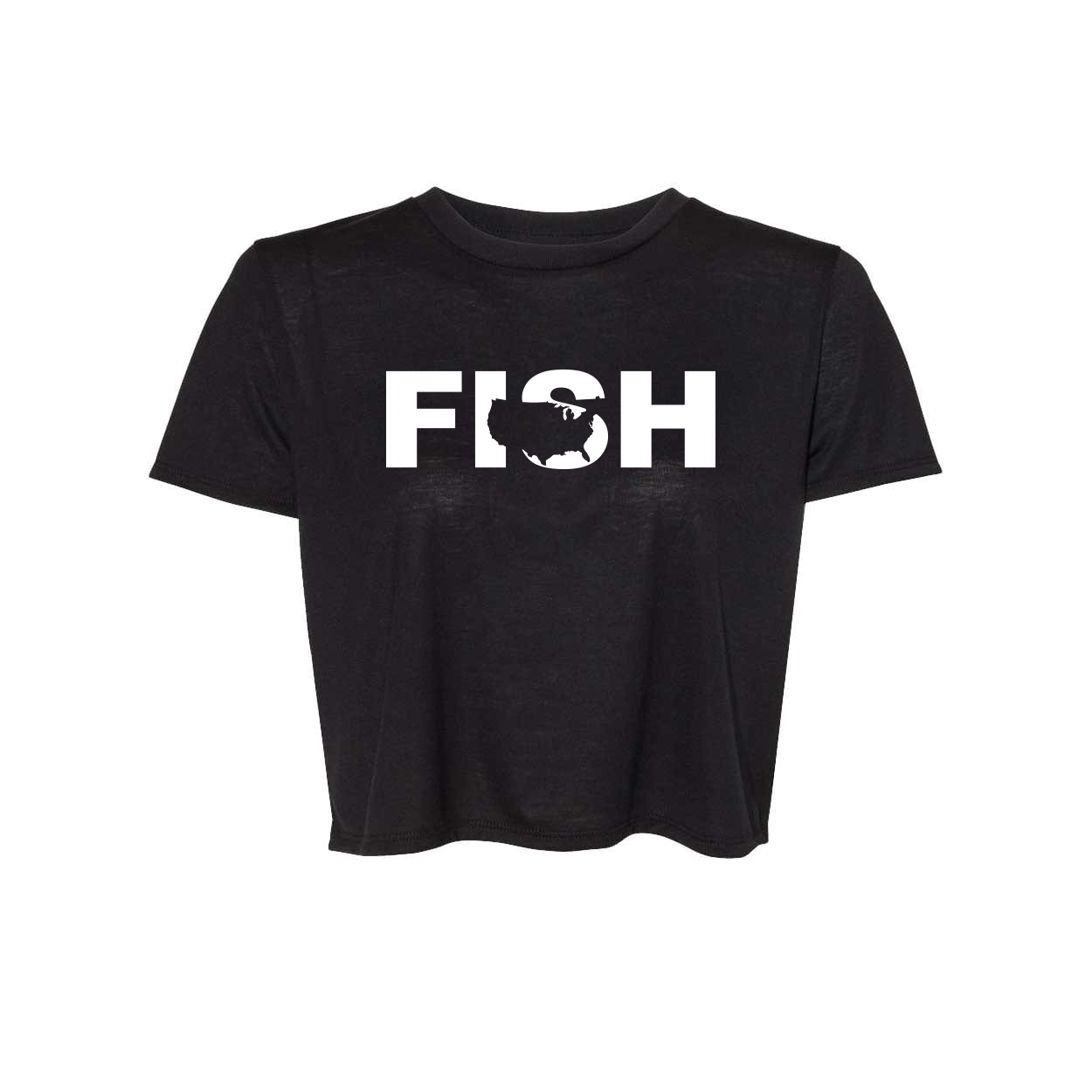 Fish United States Classic Womens Flowy Cropped Tee Black (White Logo)