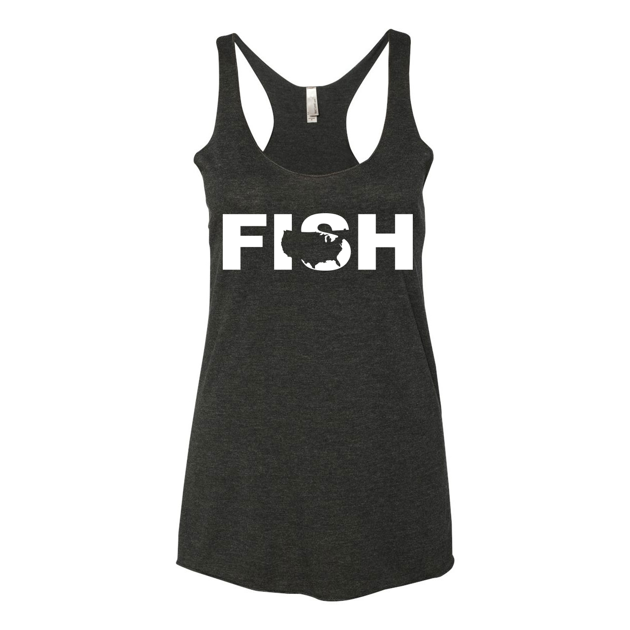 Fish United States Classic Women's Ultra Thin Tank Top Black (White Logo)