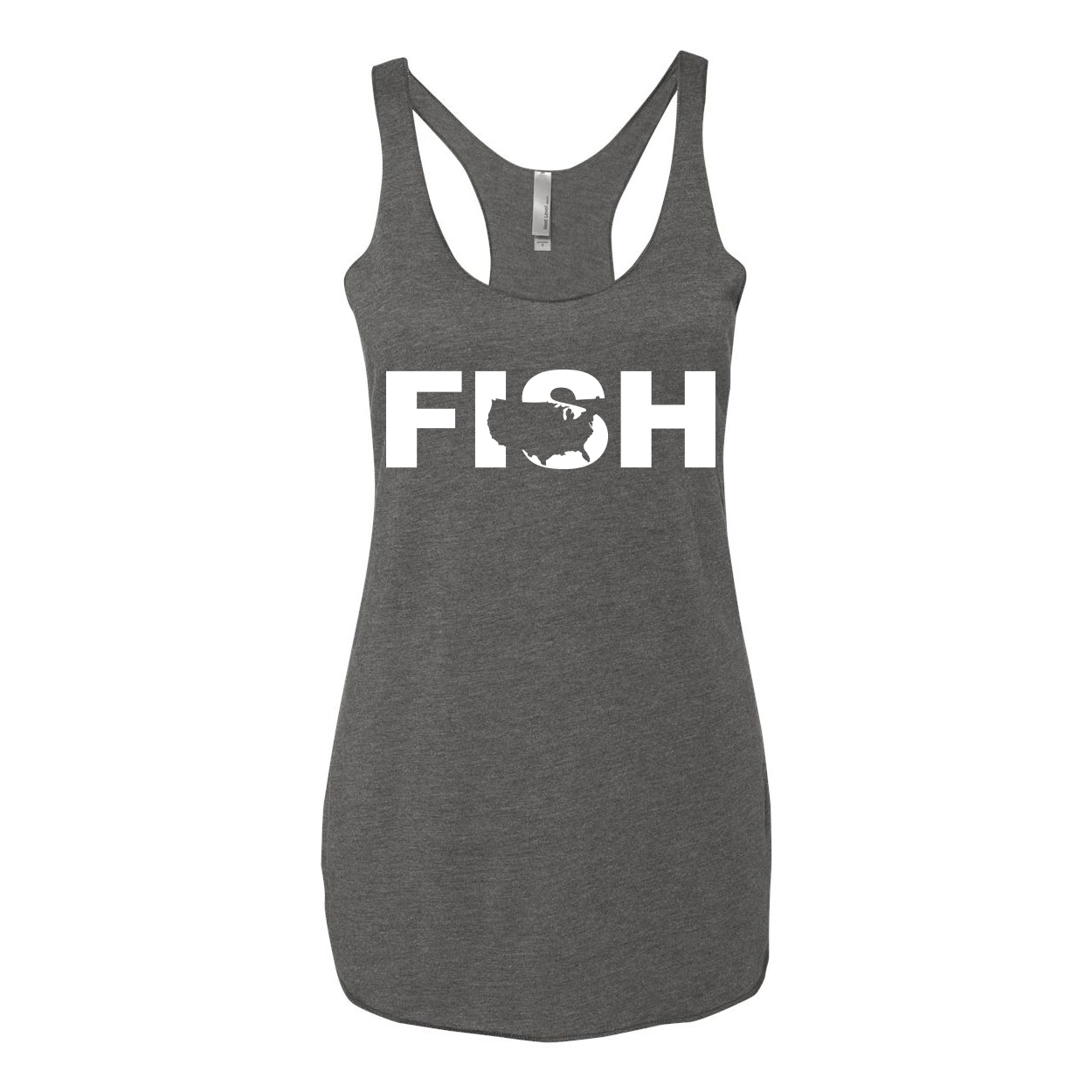 Fish United States Classic Women's Ultra Thin Tank Top Premium Heather Gray (White Logo)