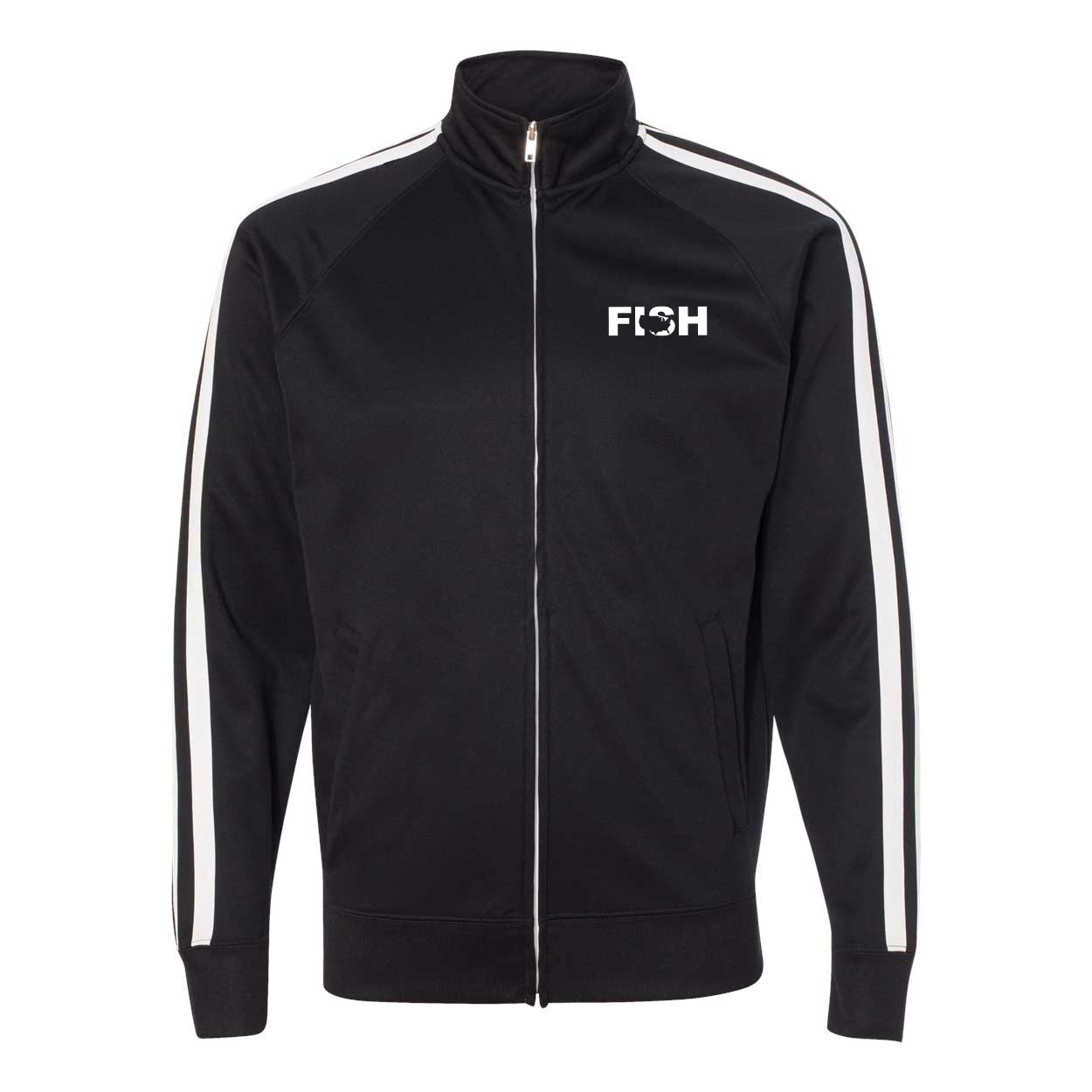 Fish United States Classic Track Jacket Black/White (White Logo)