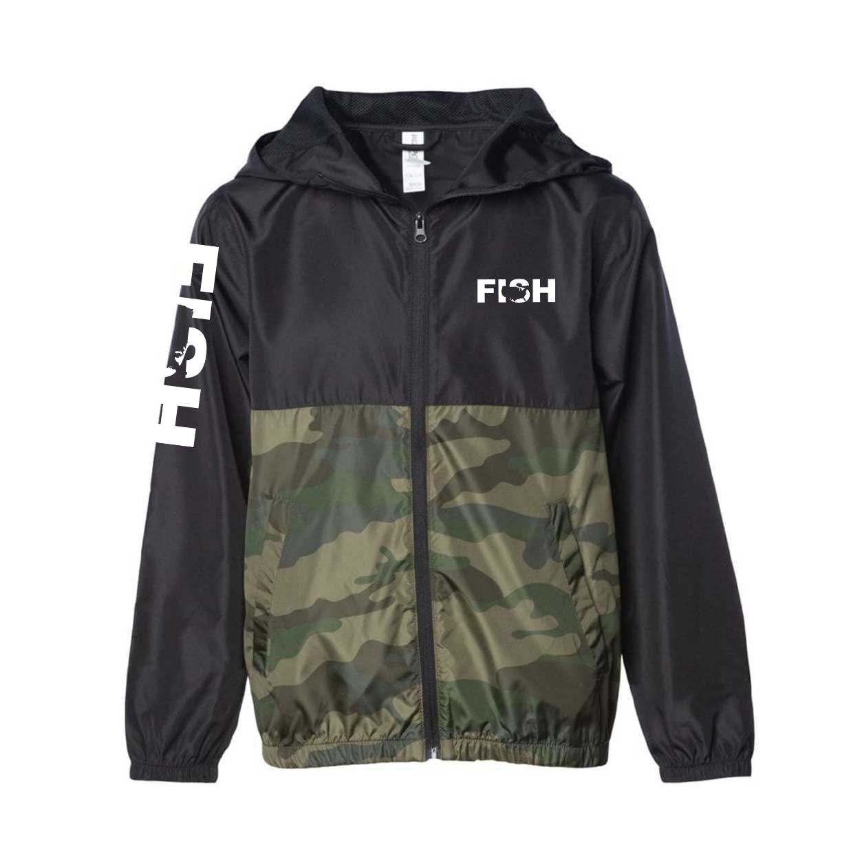 Fish United States Classic Youth Lightweight Windbreaker Black/Forest Camo (White Logo)