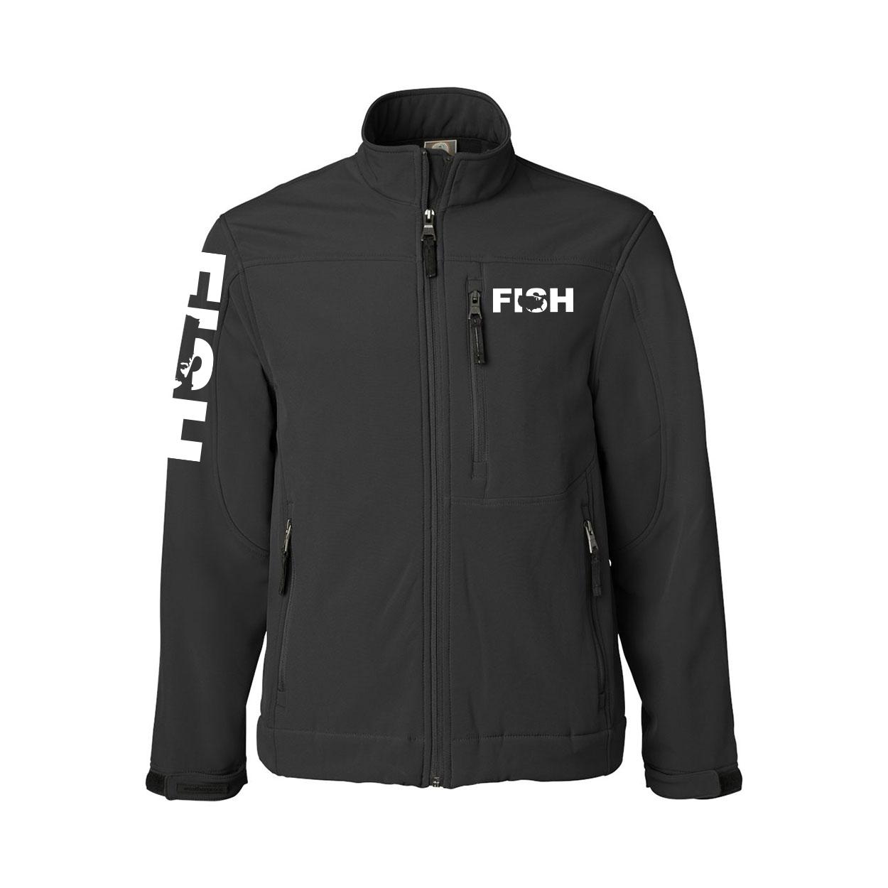 Fish United States Classic Soft Shell Weatherproof Jacket (White Logo)
