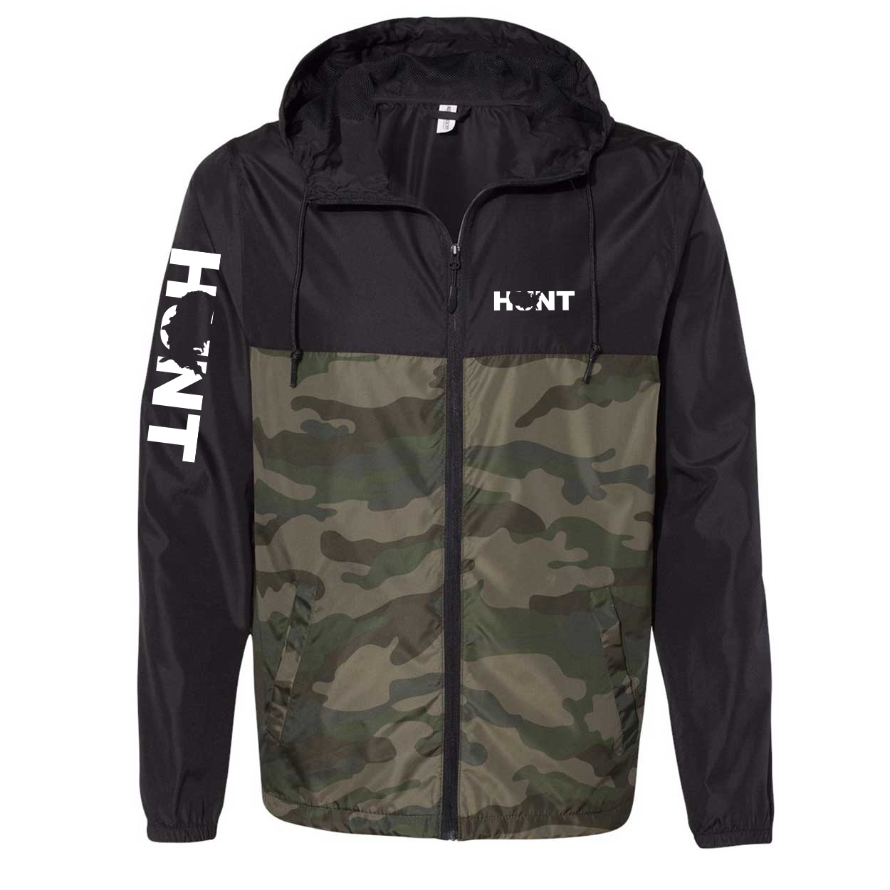 Hunt United States Classic Lightweight Windbreaker Black/Forest Camo (White Logo)